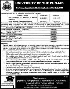 University-of-the-Punjab-Admission-Spring-Semester-2017-MSc-Engineering-Metallurgy-Materials-Engineering